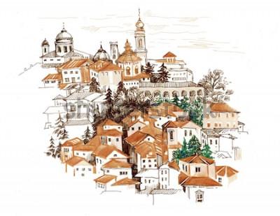 Väggdekor Akvarellstadsbild med husillustration.