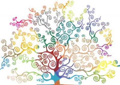 Väggdekor albero con rami curvi e colorati