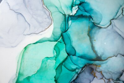 Väggdekor Alcohol ink sea texture. Contemporary art. Spots of oil paint. Abstract art background. Multicolored bright texture. Fragment of artwork. Modern art. Inspired by the sky, as well as steam and smoke.