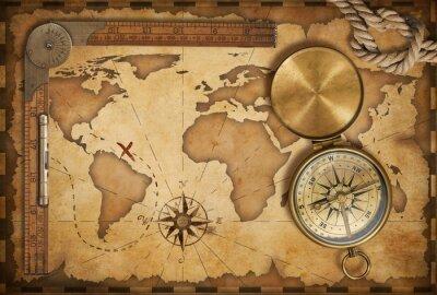 Väggdekor åldern skattkarta, linjal, rep och gamla mässing kompass med lock