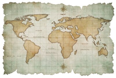 Väggdekor åldern världskarta isolerad på vitt