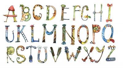 Väggdekor alfabet, brev, vattenfärg