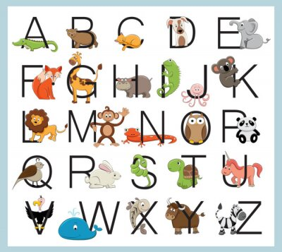 Väggdekor alfabet djur
