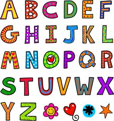 Väggdekor Alfabet Text Doodle