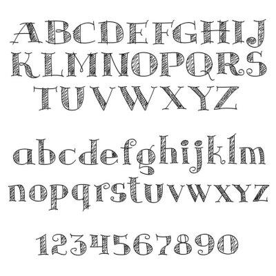 Väggdekor Alfabetet font med korsstreck