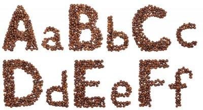 Väggdekor alfabetet från kaffebönor isolerade