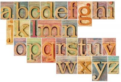 Väggdekor alfabetet i boktryck träslag