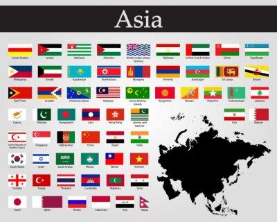 Väggdekor All flags of Asia. Vector illustration. World flags