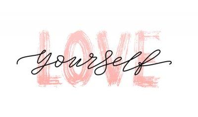 Väggdekor Älska dig själv citat. Ett ord. Modern kalligrafi textutskrift Vektor illustration svart och vitt. ego