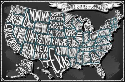 Väggdekor Amerikas förenta stater om Vintage Handskrift Blackboard