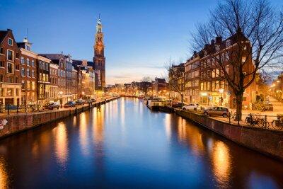 Väggdekor Amsterdam på natten, Nederländerna