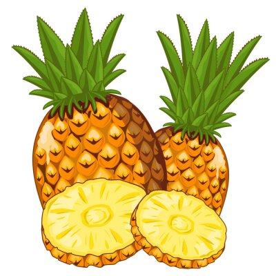 Väggdekor Ananas Isolerad på vit bakgrund.