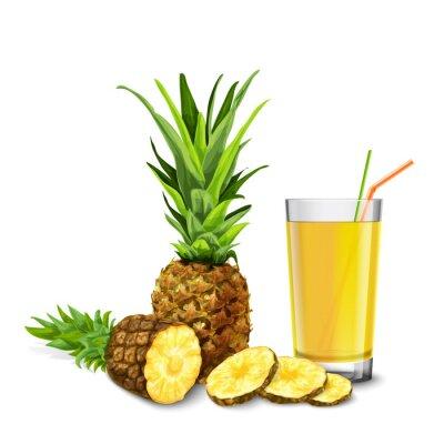 Väggdekor Ananas juice glas