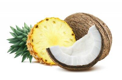 Väggdekor Ananas kokos bitar komposition en isolerad på vitt backgro