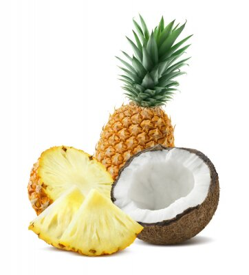 Väggdekor Ananas kokos bitar komposition fyra isolerade på vitt backgro