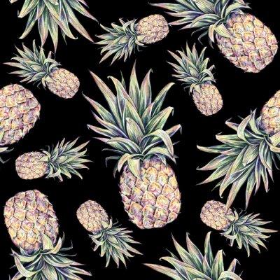 Väggdekor Ananas på en svart bakgrund. Vattenfärg färgrik illustration. Tropisk frukt. Seamless mönster