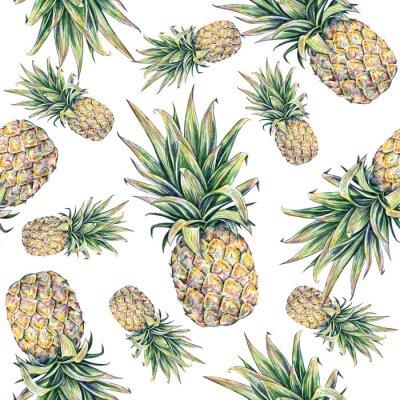 Väggdekor Ananas på en vit bakgrund. Seamless mönster
