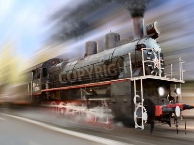 Väggdekor ångmaskin, lokomotiv i rörelseoskärpa