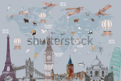 Väggdekor Animals world map and famous landmarks of the world for kids wallpaper design