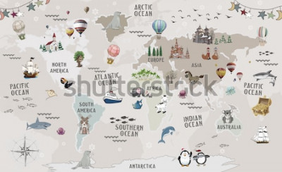 Väggdekor Animals world map for kids wallpaper design