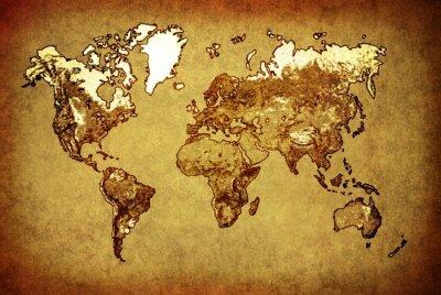 Väggdekor antika världskarta på gammalt papper