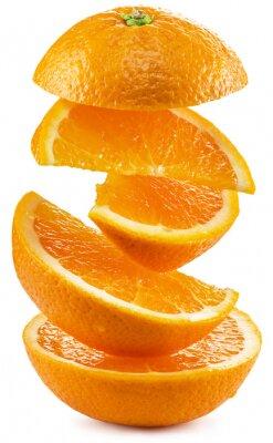 Väggdekor Apelsinskivor på vit bakgrund.