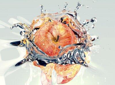 Väggdekor äpple faling och stänk i vatten