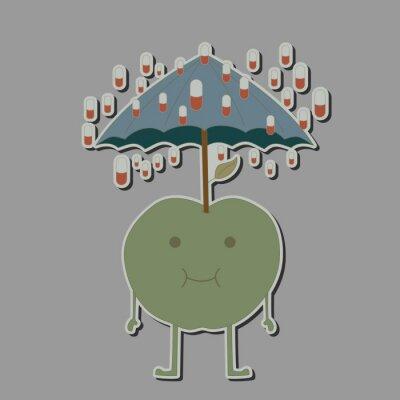 Väggdekor äpple med paraply och regn tabletter