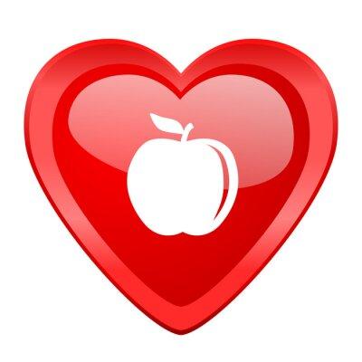 Väggdekor äpple rött hjärta valentine glansigt web ikonen