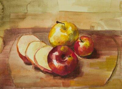 Väggdekor Äpplen på skärbräda stilleben akvarellmålning
