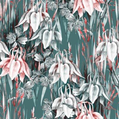 Väggdekor Aquilegia Flowers Seamless Pattern. Watercolor Background.