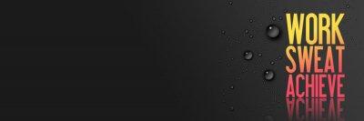 Väggdekor Arbete - Sweat - Uppnå - Träning och Fitness Motivation citationstecken - Creative typografi Modern Banner Concept - droppar - blå