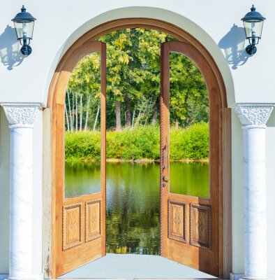 Väggdekor Arch dörren öppen damm