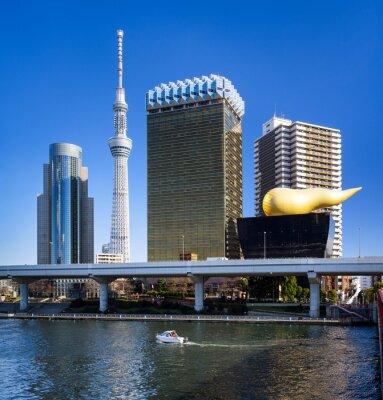 Väggdekor Asakusa Skyline i Tokyo mit Skytree und Asahi Gebäude