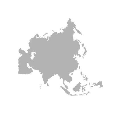 Väggdekor Asia outline world map - Vector
