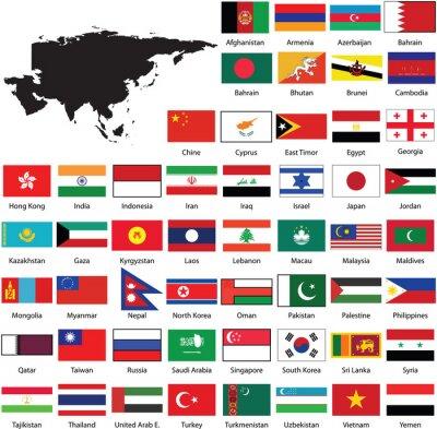 Väggdekor Asian flags