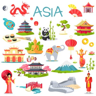 Väggdekor Asien Insamling av symboliska element på vit