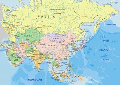 Väggdekor Asien - Mycket detaljerade redigerbar politiska kartan.