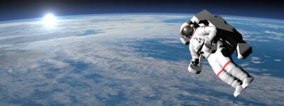 Väggdekor Astronaut eller kosmonaut flyger på jorden - 3d