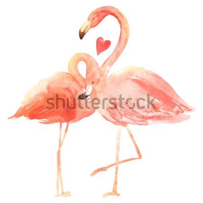 Väggdekor Att leva korallflamingo i kärlek. Akvarell lycklig alla hjärtans dag gratulationskort. Ritad för hand. Rosa