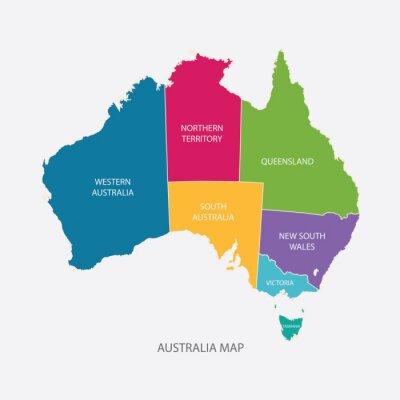 Väggdekor Australia map färg med REGIONER platt design illustration vektor