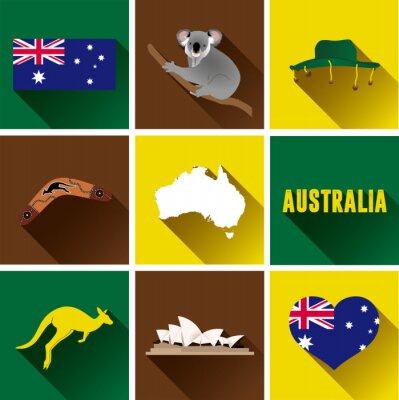 Väggdekor Australien Flat ikoner. Uppsättning av vektorgrafik platta ikoner som representerar landmärken och symboler i Australien.