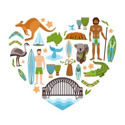 Väggdekor Australien hjärtformade