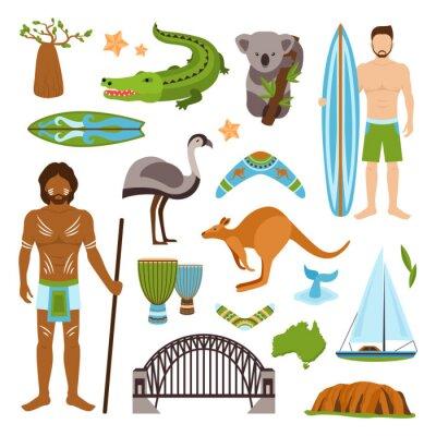 Väggdekor Australien ikoner Set