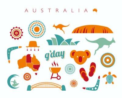 Väggdekor Australien ikoner - vektor illustration