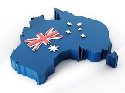 Väggdekor Australien karta och flagga