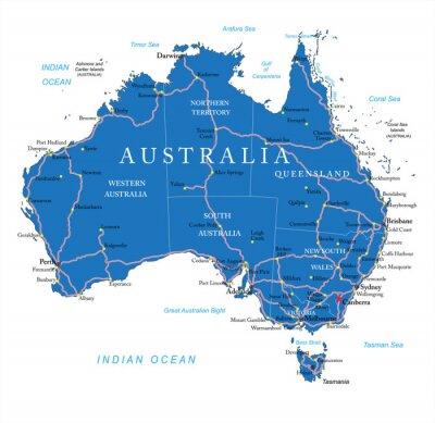 Väggdekor Australien vägkarta
