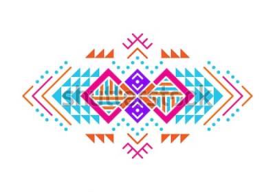Väggdekor Aztec stil prydnad. Amerikansk indisk prydnadsdesign. Stam dekorativ mall. Etnisk prydnad. Färgstark bakgrund.