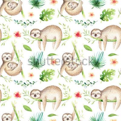 Väggdekor Baby animals sloth nursery isolated seamless pattern. Watercolor boho tropical drawing, child tropical drawing cute palm tree leaves, tropic green texture,exotic flower. Aloha backgraund