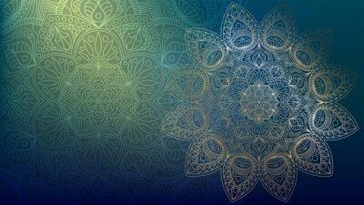 Väggdekor Background with golden mandalas, round indian pattern, muslim pattern